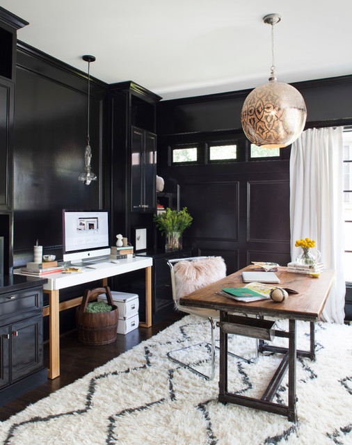 Home office with black walls interiors by color - Simply amazing black and white curtains to decorate your home interior ...