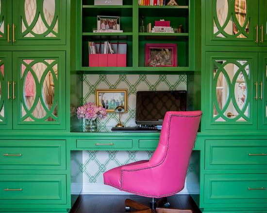 Study Desk in Pink and Green - benjamin moore bunker green 2