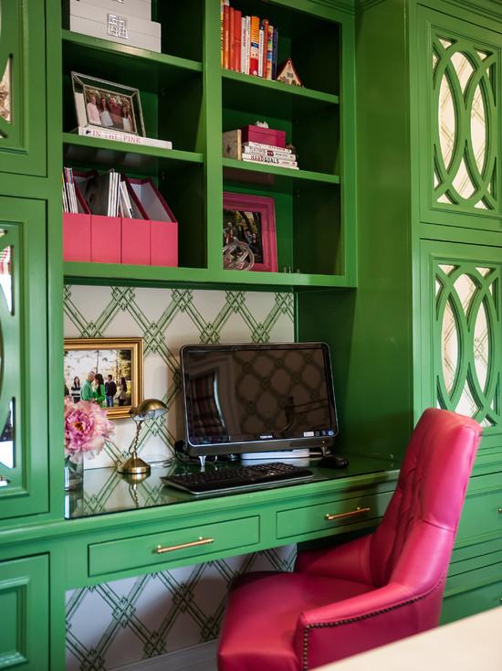 Study Desk in Pink and Green - benjamin moore bunker green