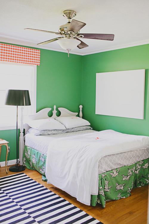 bedroom benjamin moore bunker green walls and toille bed skirts