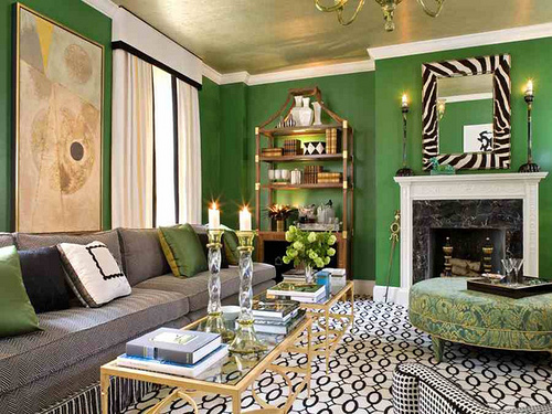 Traditional Living in Green, Black, White and Gold ...
