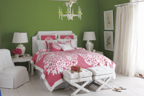 Pink, White and Green Traditional Bedroom