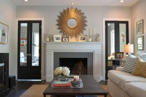Gray Living Room with Painted Fireplace