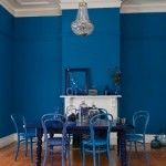 Blue Painted Walls and Chair in the Dining Room