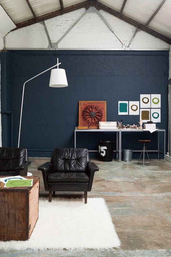 Cool Warehouse Living Room Painted in Indigo Night by Dulux