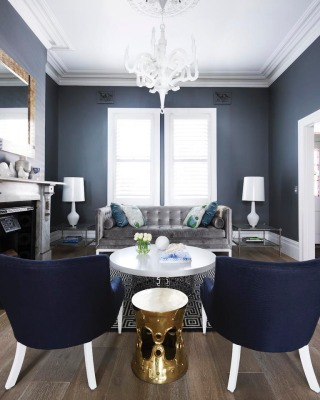 Navy Gray And White With Gold Highlights Interiors By Color