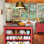 Red Cabinets Vintage Country Styled Kitchen