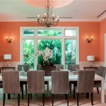 Orange, White and Gray Dining Room