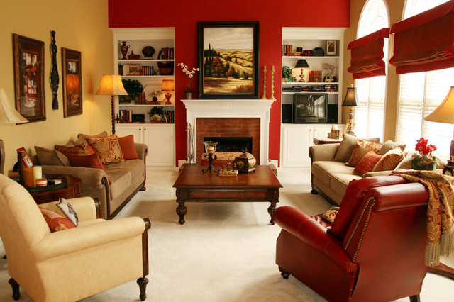 Sherwin williams red bay and sherwin williams empire gold interiors by color for Red and cream curtains for living room