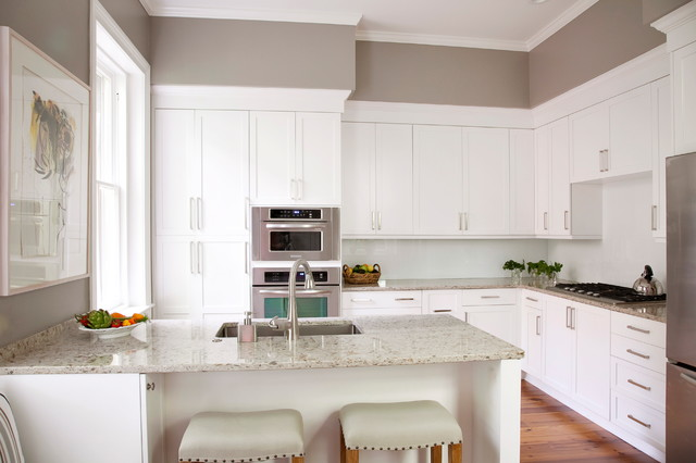 Sherwin Williams Requisite Gray walls kitchen