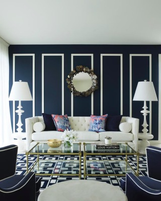 Traditional Living Room in Navy Blue and White