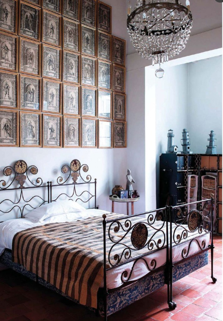 Antique Armor Engravings over the Bed
