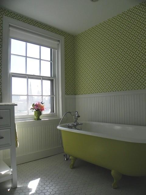 green bathroom hexagonal floor tiles
