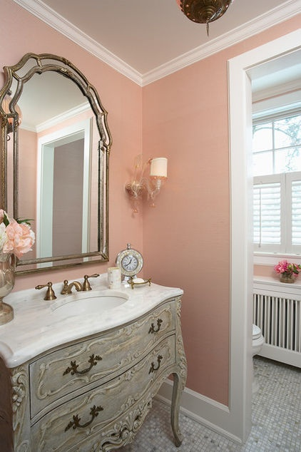 Traditional Bathroom with Mellow Coral Walls