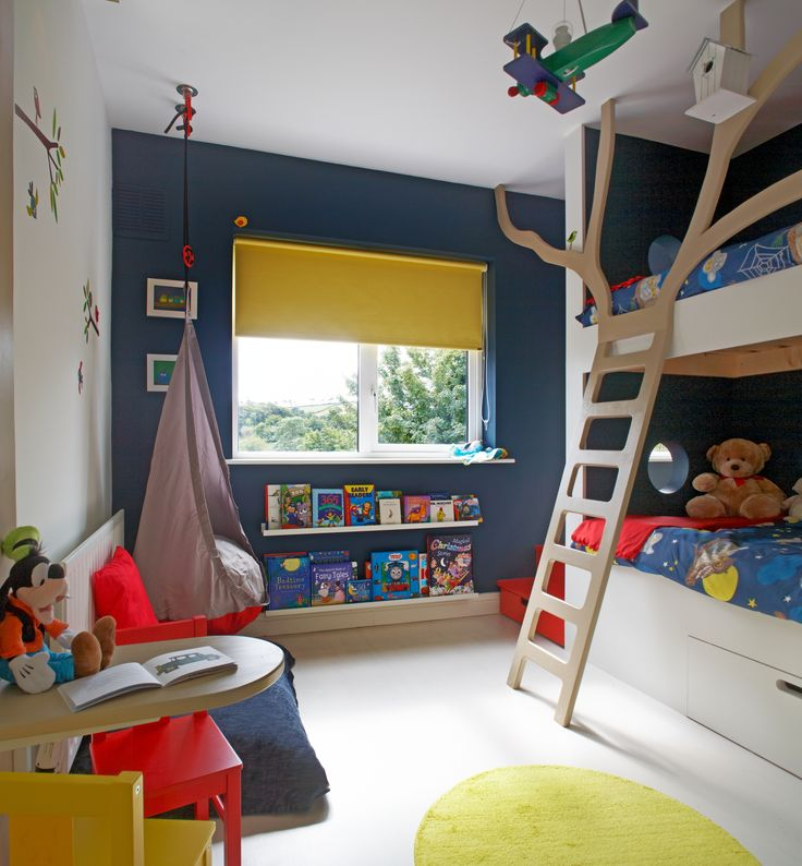 Navy Blue and Yellow Kids Room