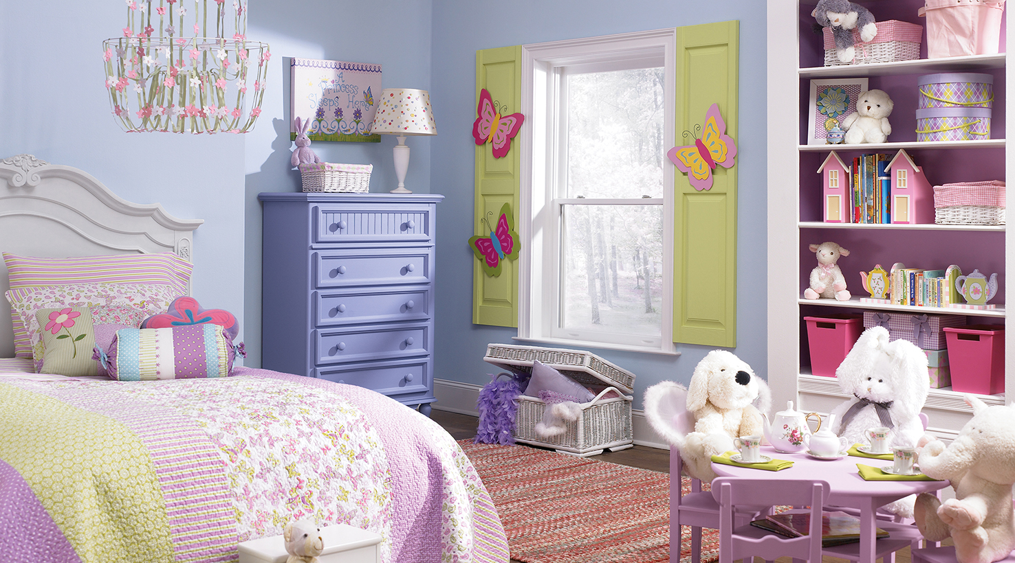 Bedrooms for girls purple and pink - Girls Room In Pastel Pink Purple And Green