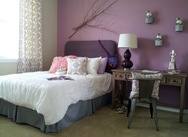 Bedroom In Thistle Purple And Agreeable Gray Interiors