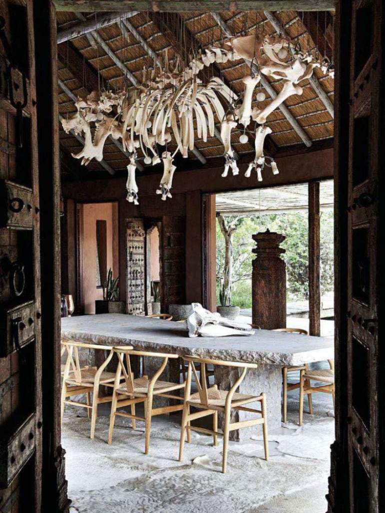 Hippopotamus Skeleton Chandelier in the Dining Room