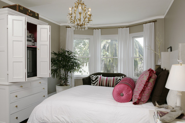 Traditional bedroom in agreeable gray interiors by color - Houzz window treatments living room ...