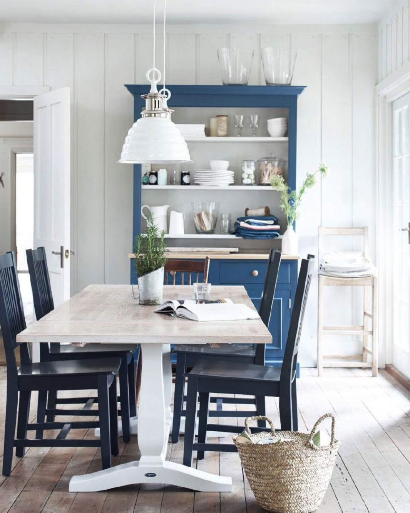 White And Blue Country Dining Room