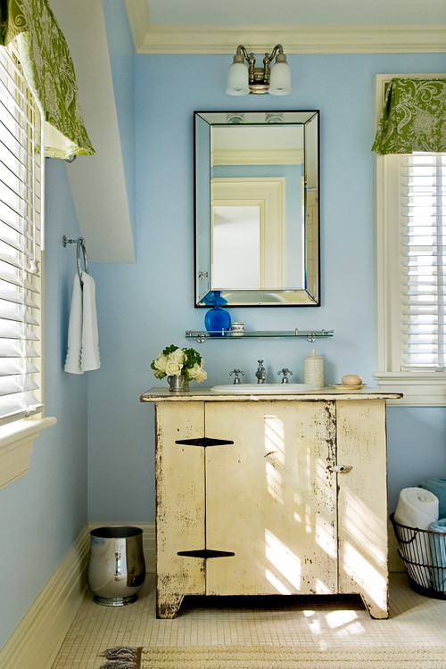 Coastal Bathroom in Pale Blue and Cream