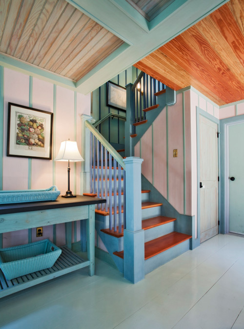 Beach Style Staircase in Blue