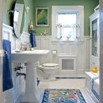 Coastal bathroom in Green, White and Blue