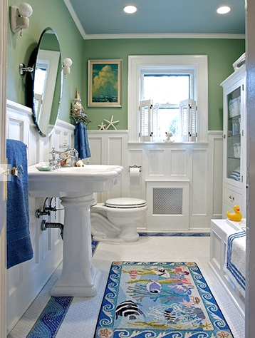 Coastal bathroom in Green, White and Blue