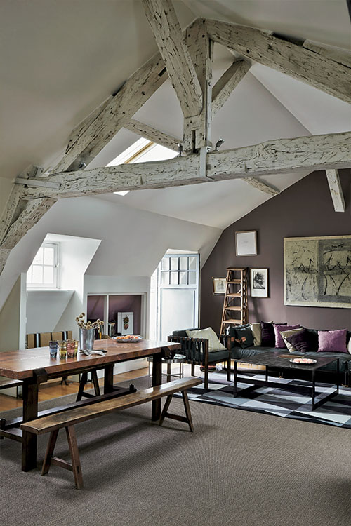 Elle Decor Interiors: Brown, Gray And Aubergine Living Room