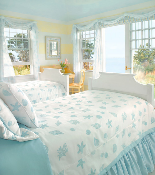 Pastel Blue And Yellow Guest Bedroom Coastal Style