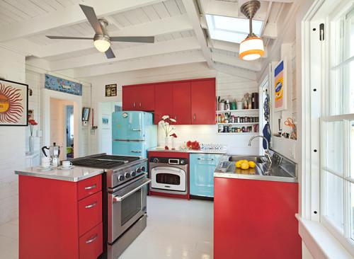 Retro Coastal Kitchen In Red And Turquosie