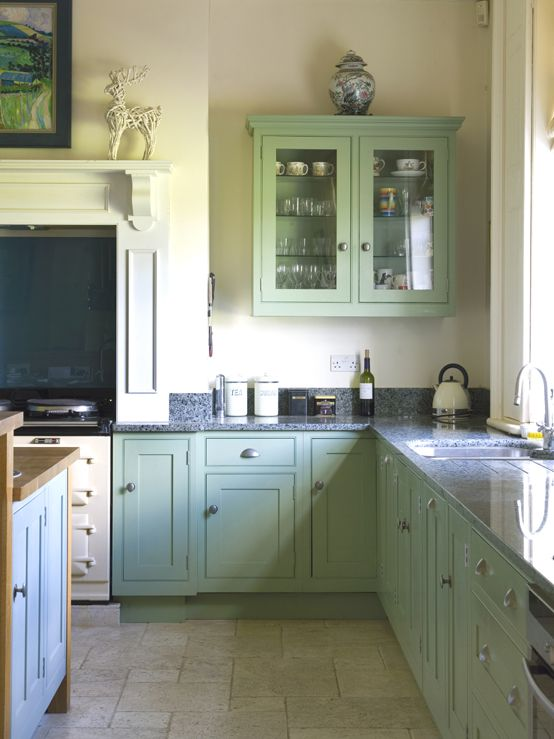 Traditional Kitchen in Breakfast Room Green and Dix Blue