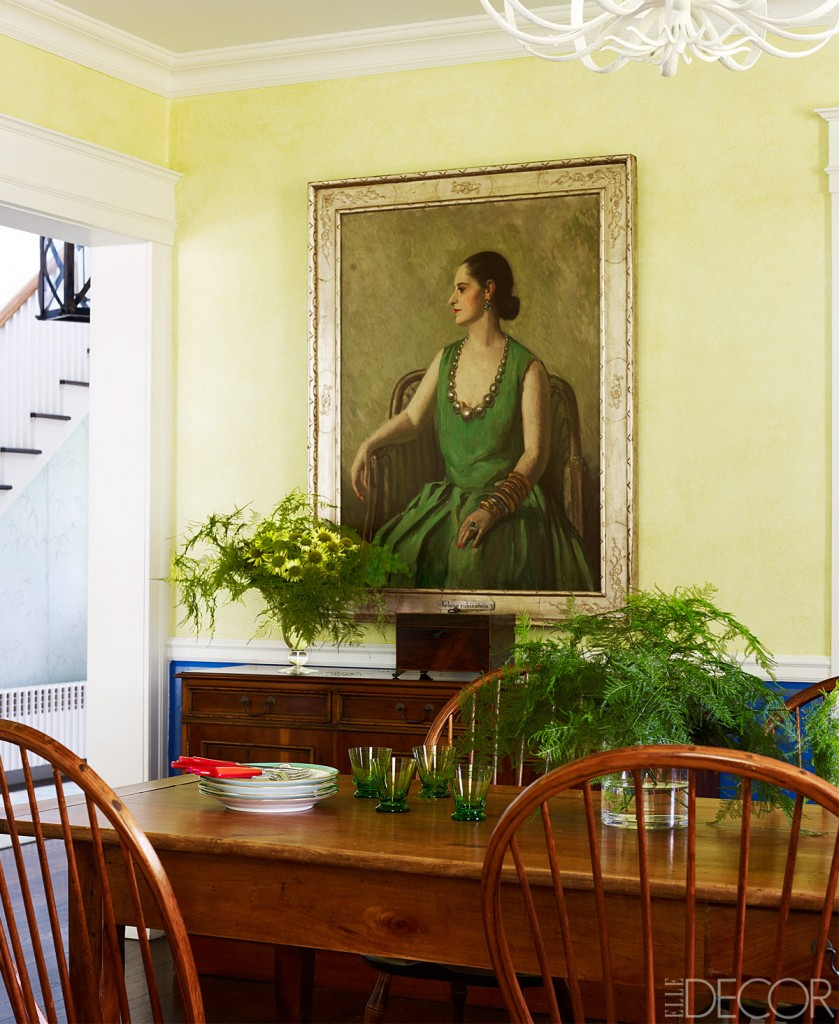 antique dining room yellow walls