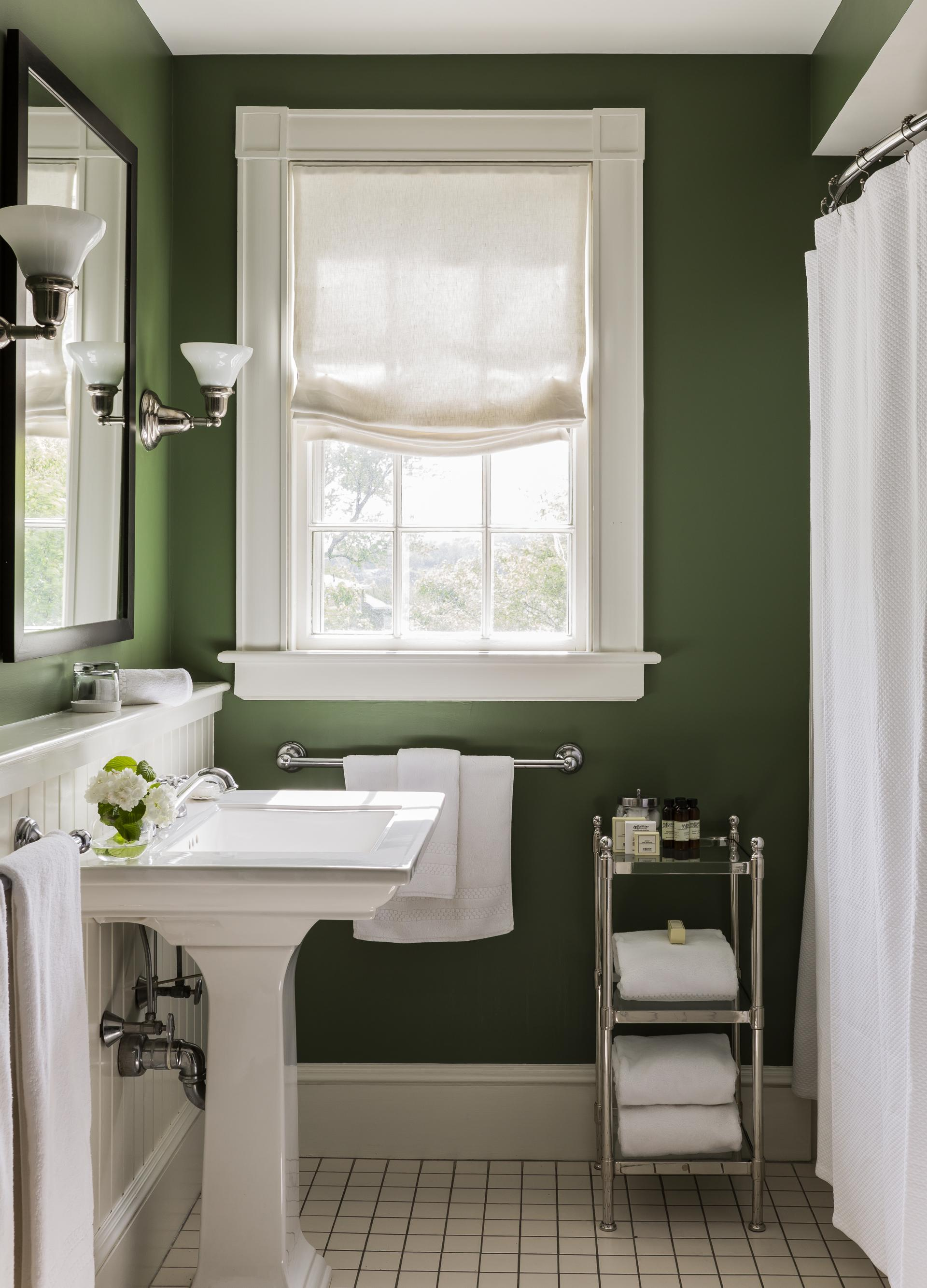 Simply refined bathroom in calke green interiors by color for Green painted bathroom ideas