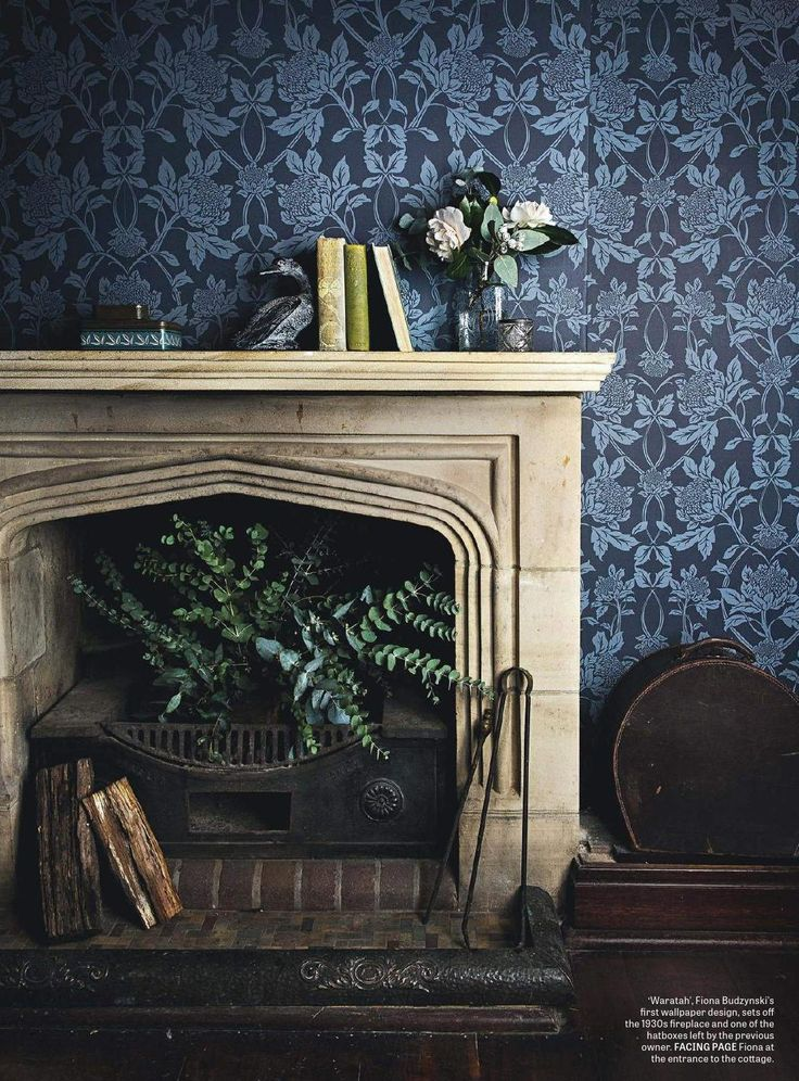 1930's fireplace and blue Waratah wallpaper