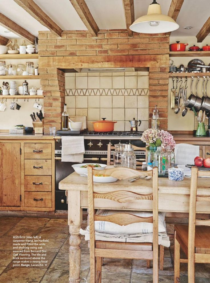 Country Kitchen in Warm Wood Tones