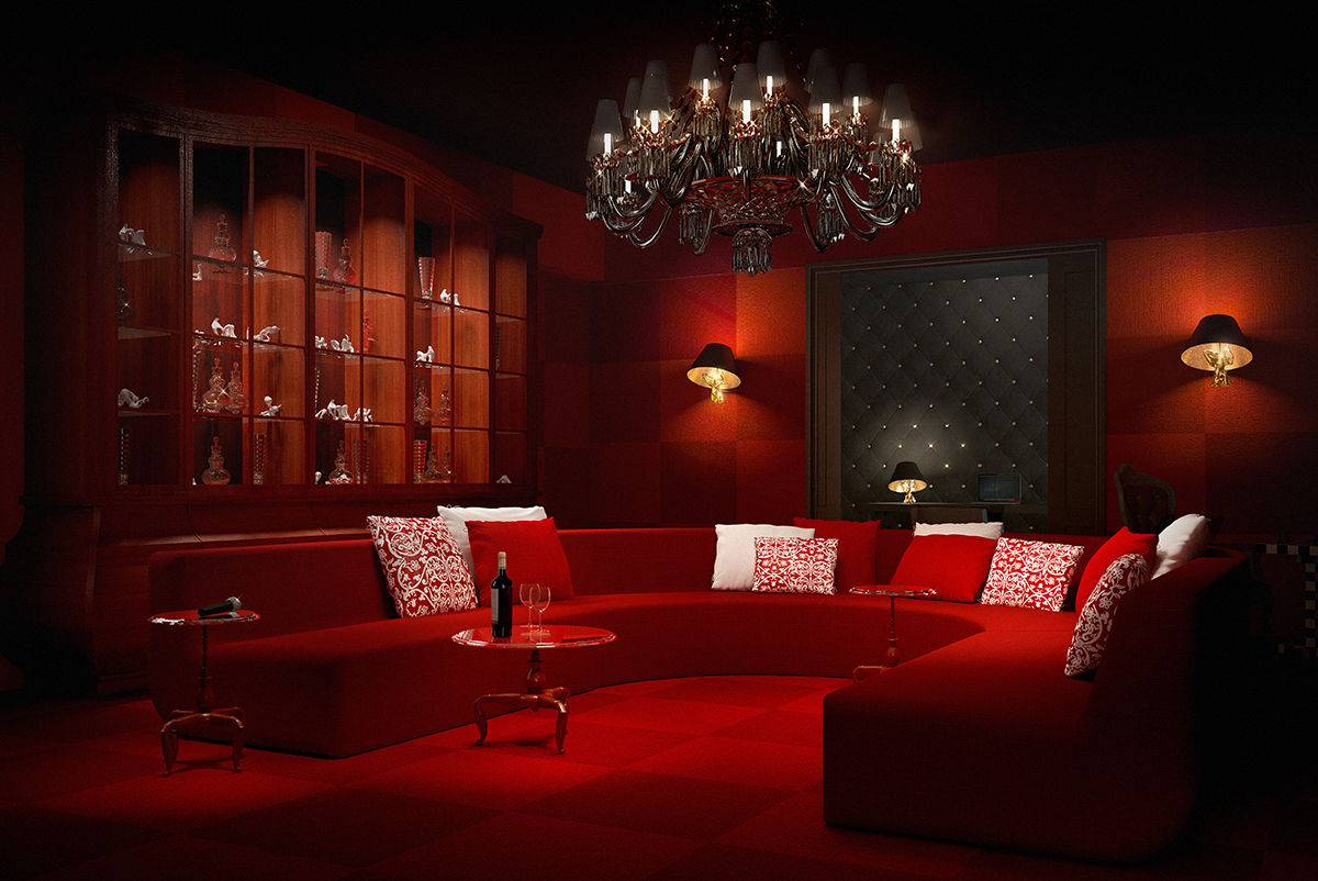 contemporary red living room with red dectioanl sofa