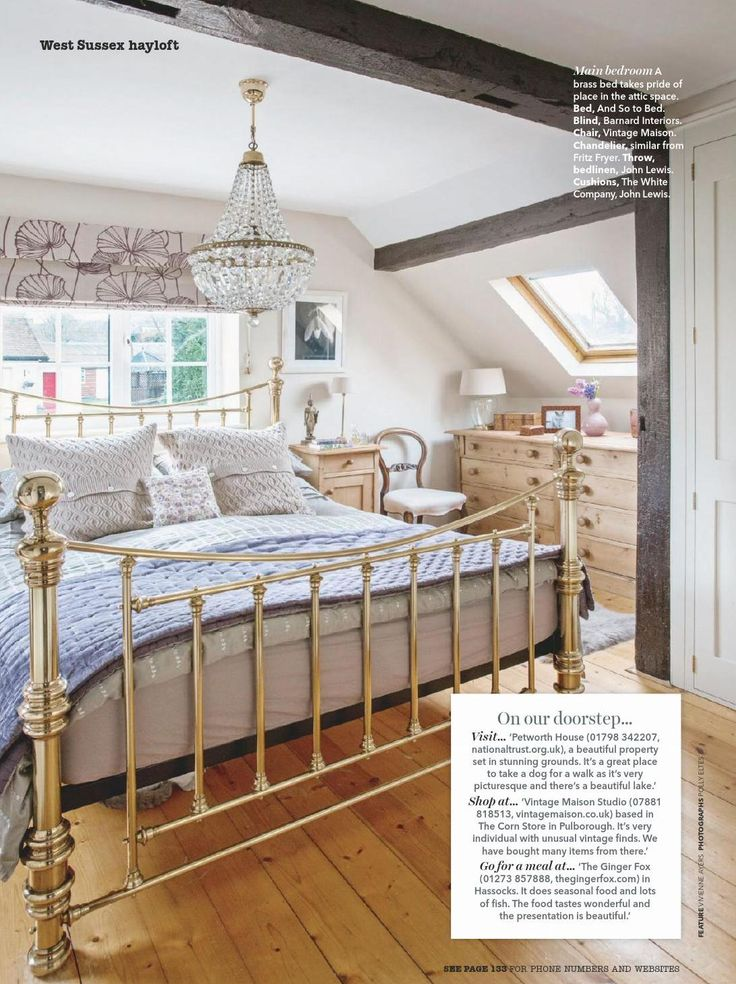 country bedroom with brass bed