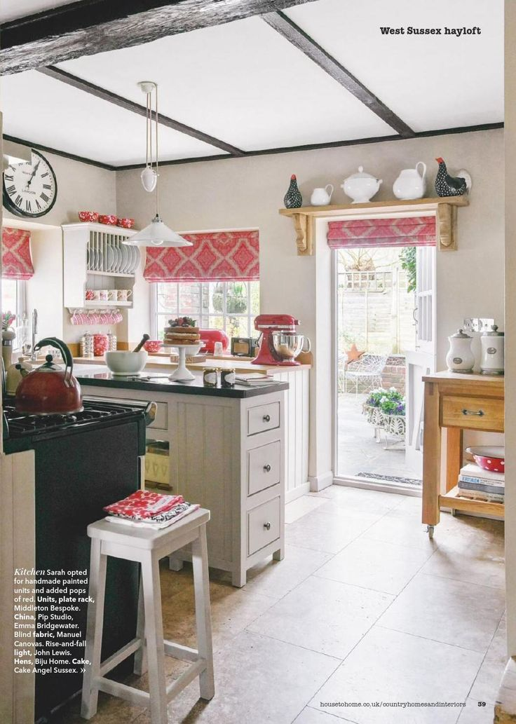 country kitchen with pops of red