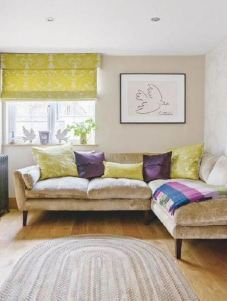 country living room in mustard and purple 1