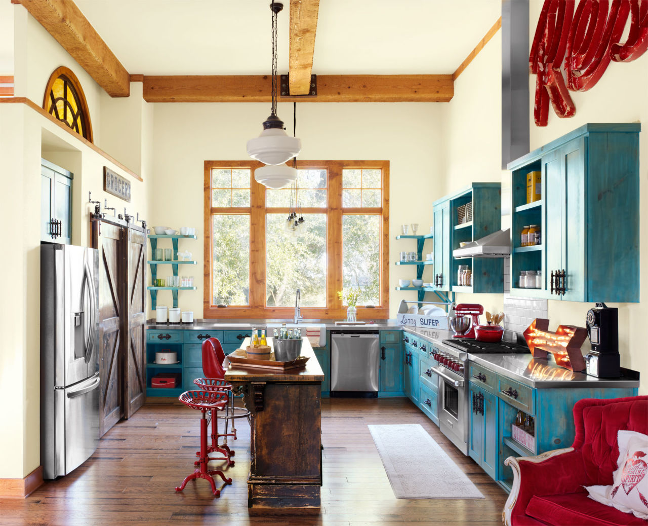 Retro Red Kitchen Retro Vintage Red And Turquoise Kitchen Decor Interiors By Color
