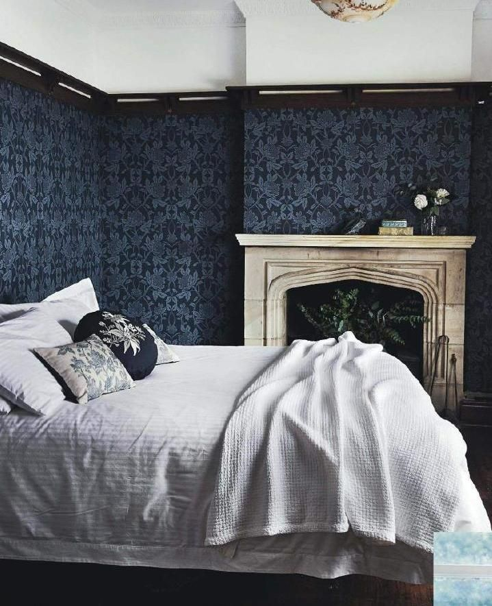 1930 S Fireplace And Blue Waratah Wallpaper Interiors By
