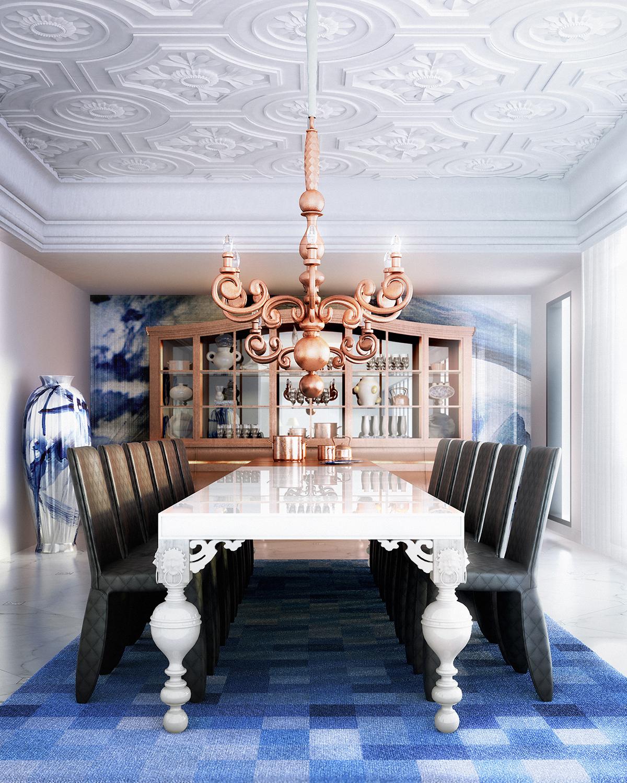 opulent blue dining room