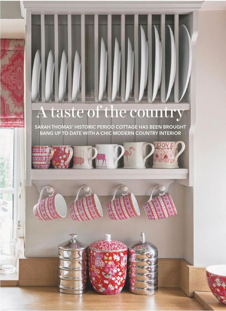 red and pink moder countryr kitchen