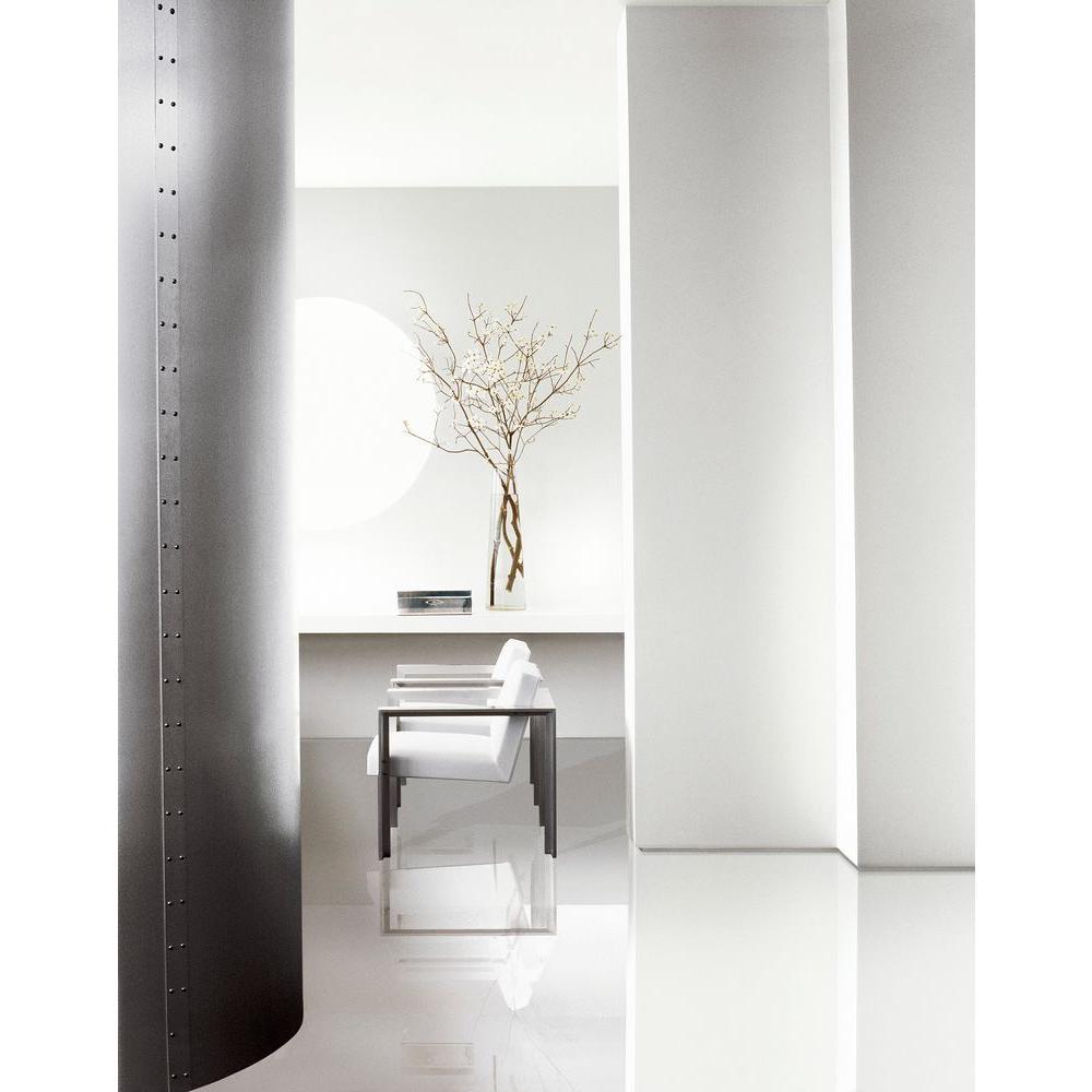Modern White Office Painted in Ralph Lauren Box Pleat White