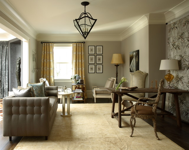 12 rooms painted in benjamin moore revere pewter interiors by color. Black Bedroom Furniture Sets. Home Design Ideas