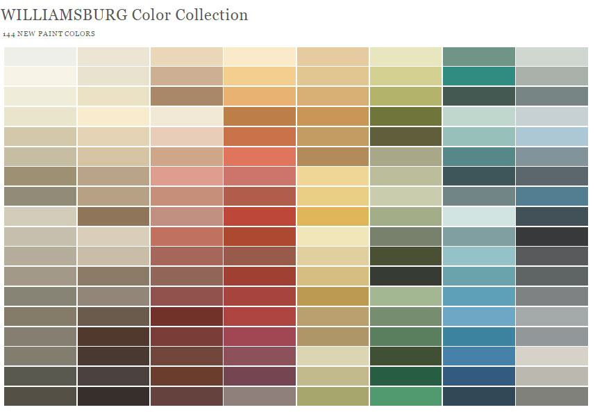 Benjamin Moore Williamsburg Collection 2016 Paint Color Collections No Comments