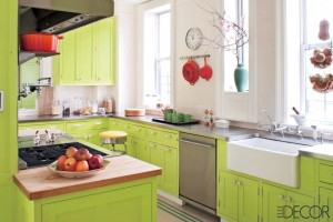 Lime Green Cabinets with Red Accents