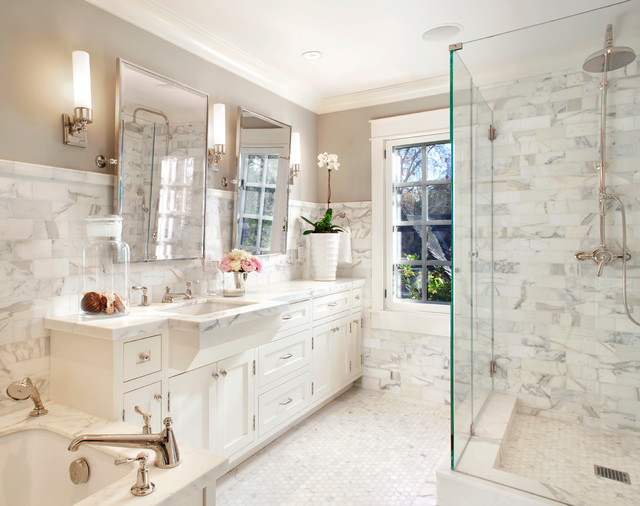 Revere Pewter and White Dove bathroom - marble tiles