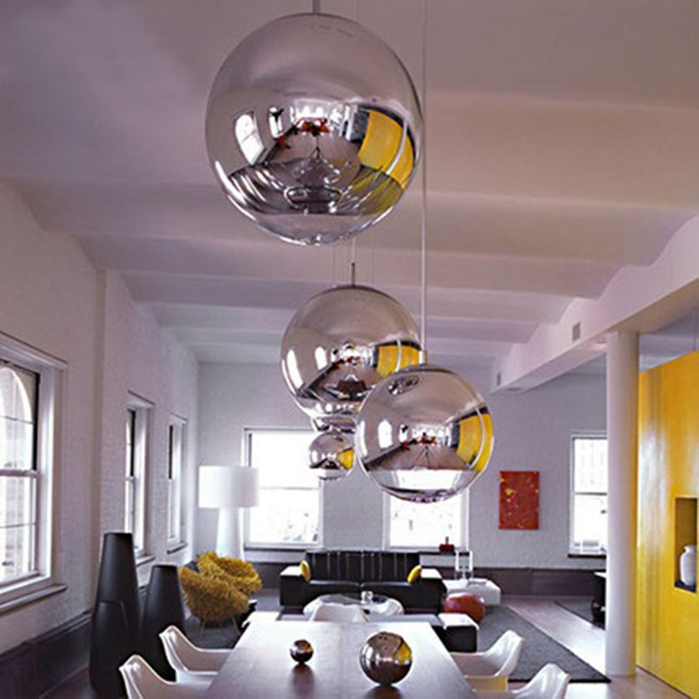 silver spheres in a white kitchen